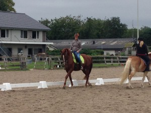 Dorine Erkens en Ubrique tijdens de Centered Riding opleiding september 2015